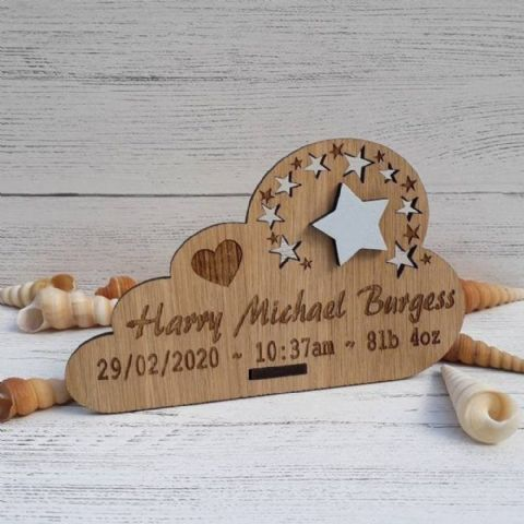 Personalised New Baby Keepsake Cloud with Star Gift  Oak Wooden Decor